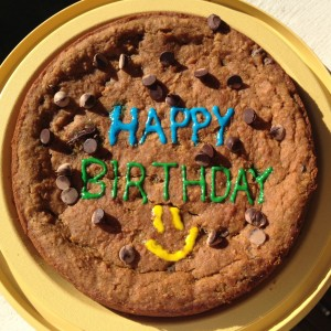 Personalized chocolate chip cookie cake